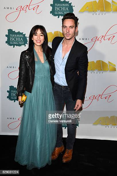Jonathan Rhys Meyers and Mara Lane attend AMBI GALA in honor of Antonio Banderas and Jonathan Rhys Meyers on May 07, 2016 in Rome, .