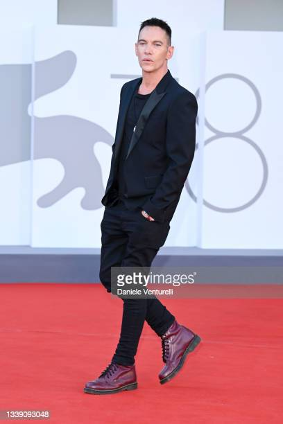 """Jonathan Rhys Meyers attends the red carpet of the movie """"Freaks Out"""" during the 78th Venice International Film Festival on September 08, 2021 in..."""