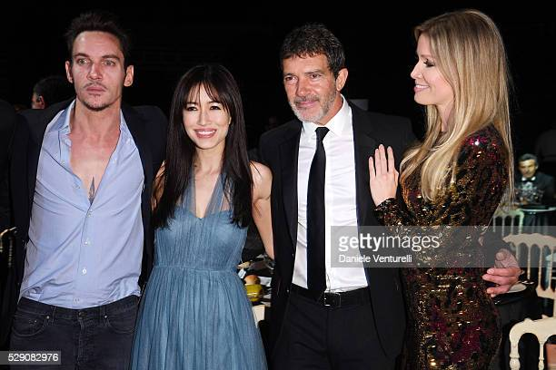 Jonathan Rhys Meyers Mara Lane Antonio Banderas and Nicole Kimpel attend AMBI GALA in honor of Antonio Banderas and Jonathan Rhys Meyers on May 07...