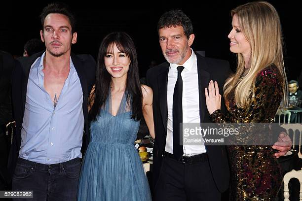 Jonathan Rhys Meyers Mara Lane Antonio Banderas and Nicole Kimpel attend AMBI GALA in honor of Antonio Banderas and Jonathan Rhys Meyers on May 07...