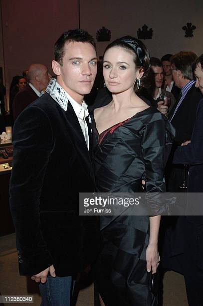 Jonathan RhysMeyers and Emily Mortimer during 'Match Point' London Premiere After Party at Asprey in London Great Britain
