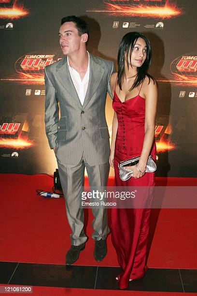 Jonathan RhysMeyers and Guest during 'Mission Impossible III' Rome Premiere Arrivals at Adriano's cinema in Cavour square in Rome Italy