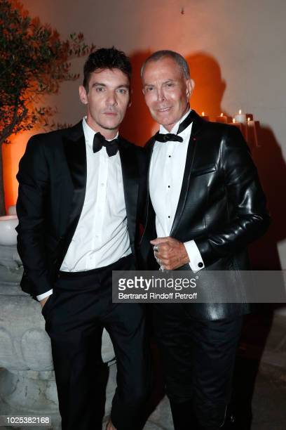 Jonathan RhysMeyers and JeanClaude Jitrois attend the Celebrazione Party By Chopard and Generali To Honor The 75th Venice Film Festival at Palazzo...