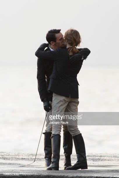 Jonathan RhysMeyers and Natalia Vodianova are seen filming on location for 'Belle du Seigneur' on November 9 2010 in Camogli Italy