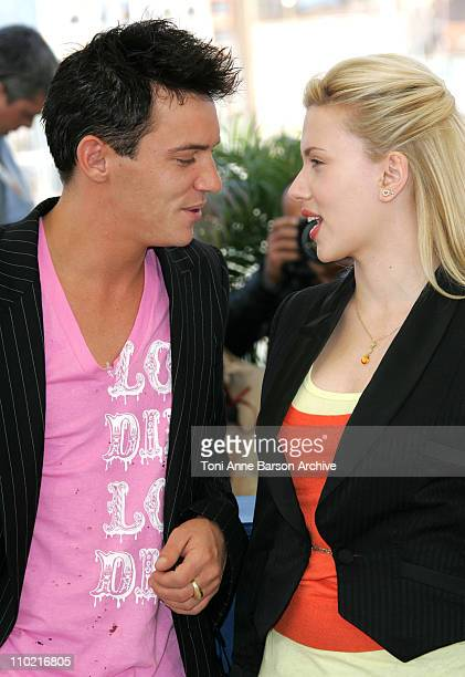 Jonathan RhysMeyers and Scarlett Johansson during 2005 Cannes Film Festival 'Match Point' Photocall at Palais Du Festival in Cannes France