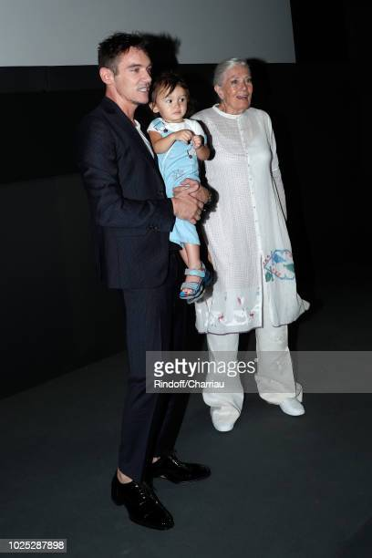 Jonathan RhysMeyers his son Wolf and Vanessa Redgrave attend 'The Aspern' photocall during the 75th Venice Film Festival at Sala Casino on August 30...