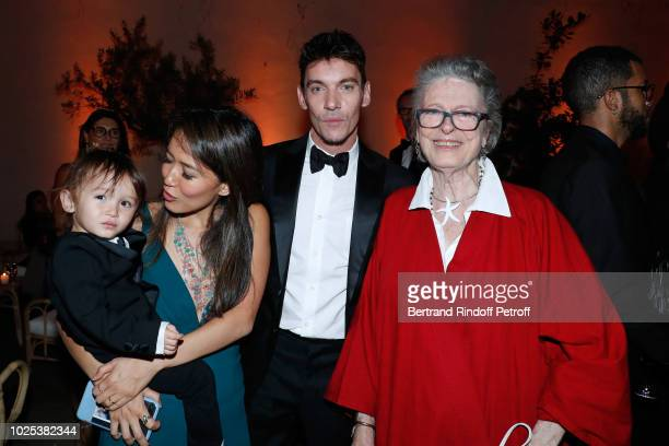Jonathan Rhys-Meyers, his wife Mara Lane, their son Wolf and Beatrice de Rothschild attend the Celebrazione Party By Chopard and Generali To Honor...