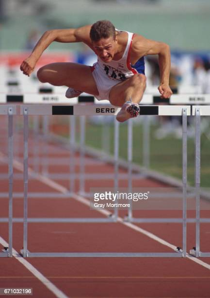 Jonathan Ridgeon of Great Britain clears a hurdle during the Men's 110 metres Hurdles event of the IAAF World Athletics Championships on 3 September...