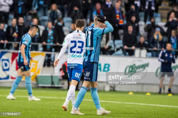 Jonathan Ring of Djurgardens IF dejected after a missed chance on goal during an Allsvenskan match between IFK Norrkoping and Djurgardens IF at Nya...
