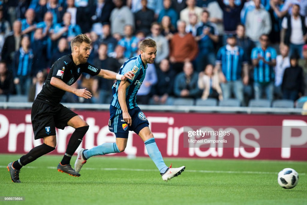 Jonathan Ring of Djurgardens IF scores the 3-0 goal during the Svenska Cupen Final between Djurgardens IF and Malmo FF at Tele2 Arena on May 10, 2018 in Stockholm, Sweden.