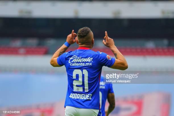 Jonathan Rodríguez of Cruz Azul celebrates after scoring his team's second goal during the 16th round match between Cruz Azul and Atletico de San...