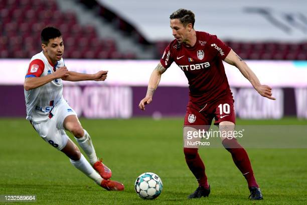 Jonathan Rodriguez and Ciprian Deac , winger of CFR Cluj, in action during CFR Cluj vs FC Botosani, Romanian Liga 1, Dr. Constantin Radulescu...