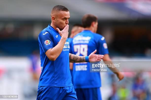 Jonathan Rodriguez of Cruz Azul celebrates after scoring the first goal of his team during the 3rd round match between Cruz Azul and Santos Laguna as...