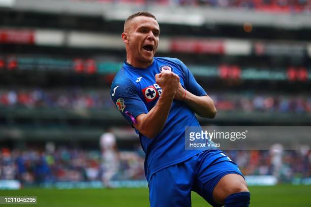 Jonathan Rodriguez of Cruz Azul celebrates after scoring the first goal of his team during the 9th round match between Cruz Azul and Tijuana as part...