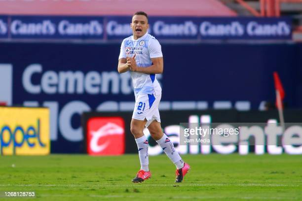 Jonathan Rodriguez of Cruz Azul celebrates after scoring the first goal of his team during the 6th round match between Atletico San Luis and Cruz...