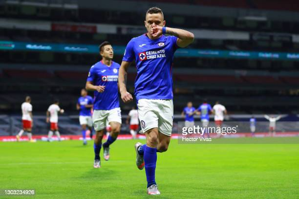 Jonathan Rodriguez of Cruz Azul celebrates after scoring the first goal of his team during the 7th round match between Cruz Azul and Toluca as part...