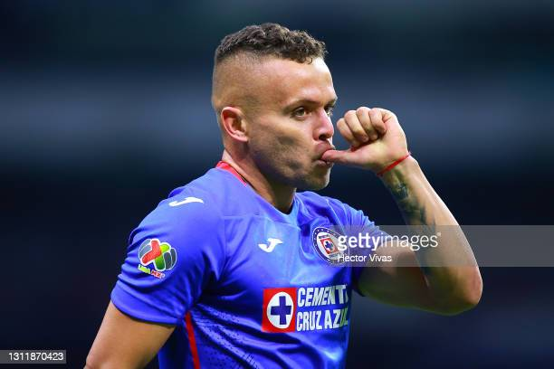 Jonathan Rodriguez of Cruz Azul celebrates after scoring the first goal of his team during the 14th round match between Cruz Azul and Chivas as part...