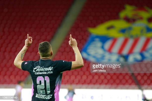 Jonathan Rodriguez of Cruz Azul celebrates after scoring the second goal of his team during the 15th round match between Chivas and Cruz Azul as part...