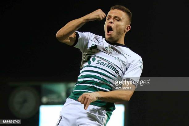 Jonathan Rodriguez of Santos celebrate after scoring during a round of 16 match between Santos and Necaxa in the Apertura Tournament 2017 Copa MX at...