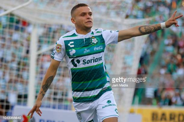 Jonathan Rodriguez of Santos celebrates after scoring the first goal of his team during the 10th round match between Santos Laguna and Veracruz as...