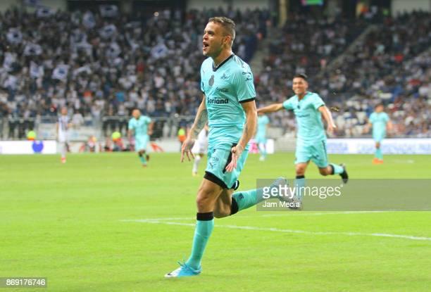 Jonathan Rodriguez of Santos celebrates after scoring the first goal of his team during the quarter final match between Monterrey and Santos Laguna...
