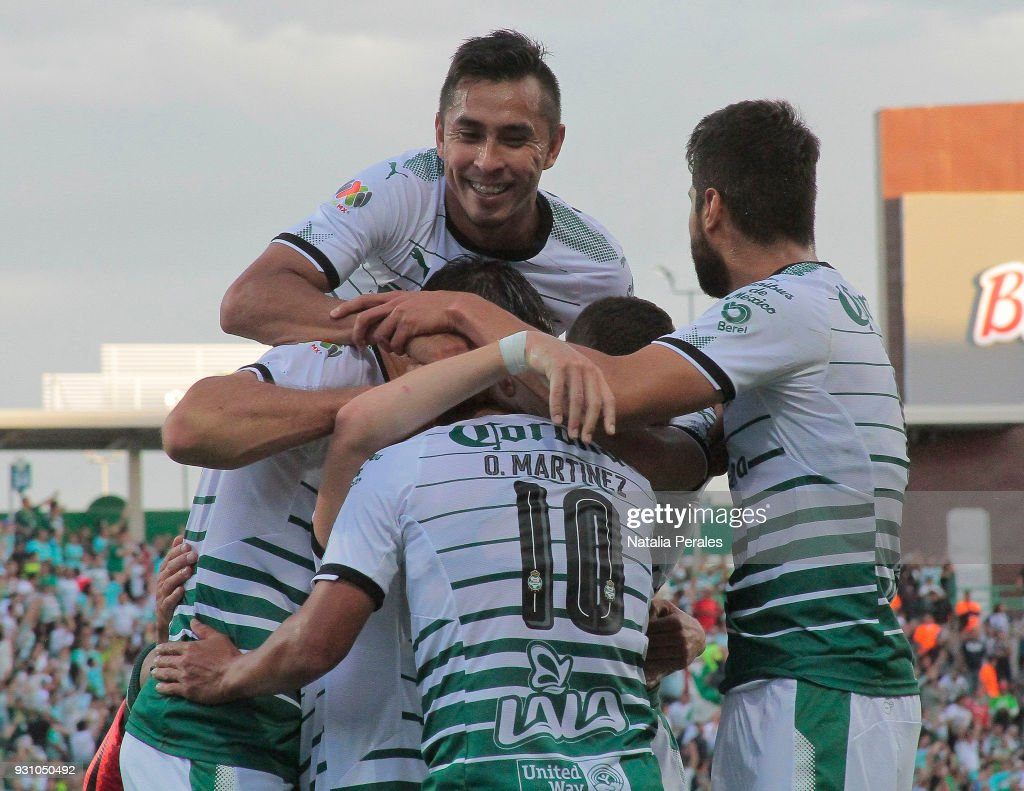 Jonathan Rodriguez of Santos celebrates after scoring the first goal of his team during the 11th round match between Santos Laguna and Monterrey as part of the Torneo Clausura 2018 Liga MX at Corona Stadium on March 11, 2018 in Torreon, Mexico.