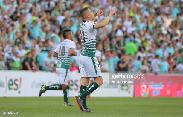 Jonathan Rodriguez of Santos celebrates after scoring the first goal of his team during the 11th round match between Santos Laguna and Monterrey as...