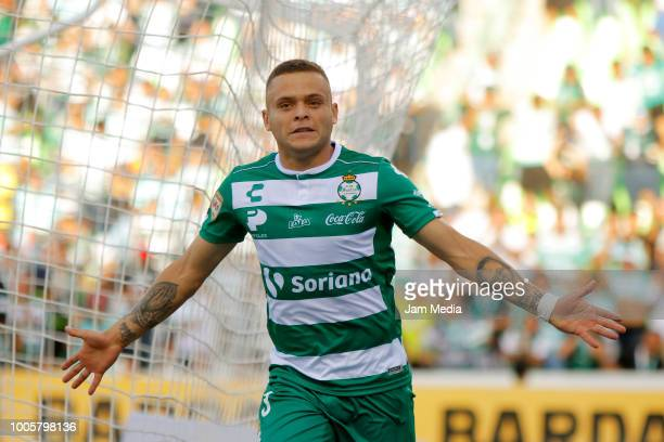 Jonathan Rodriguez of Santos celebrates after scoring the second goal of his team during the 1st round match between Santos Laguna and Lobos BUAP as...
