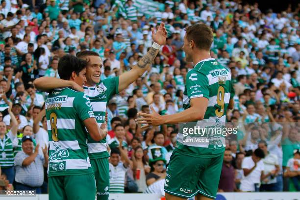 Jonathan Rodriguez of Santos celebrates after scoring the second goal of his team with his teammates during the 1st round match between Santos Laguna...