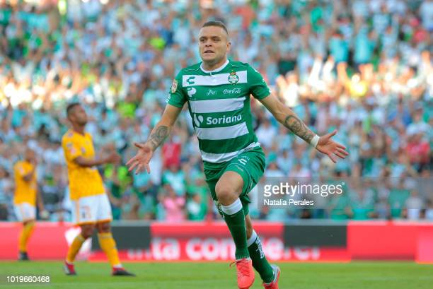 Jonathan Rodriguez of Santos celebrates after scoring the second goal of his team during the fifth round match between Santos Laguna and Tigres UANL...