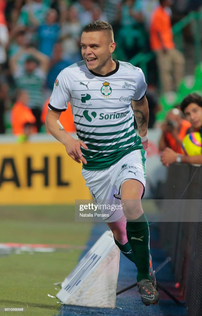 Jonathan Rodriguez of Santos celebrates after scoring the third goal of his team during the 11th round match between Santos Laguna and Monterrey as part of the Torneo Clausura 2018 Liga MX at Corona Stadium on March 11, 2018 in Torreon, Mexico.