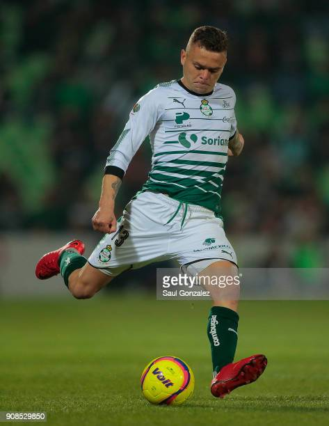 Jonathan Rodriguez of Santos kicks the ball during the 3rd round match between Santos Laguna and Morelia as part of the Torneo Clausura 2018 Liga MX...