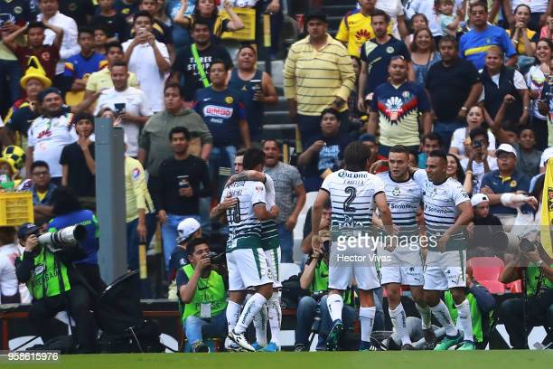 Jonathan Rodriguez of Santos Laguna celebrates after scoring the first goal of his team during the semifinals second leg match between America and...