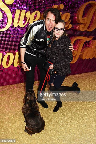 Jonathan Ross and Carrie Fisher attend the World Premiere of 'Absolutely Fabulous The Movie' at Odeon Leicester Square on June 29 2016 in London...