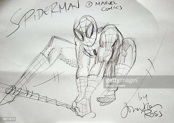 Jonathan Ross' doodle is seen on display at a photocall to mark National Doodle Day at the Jerwood Space on February 2 2004 in London The event hopes...