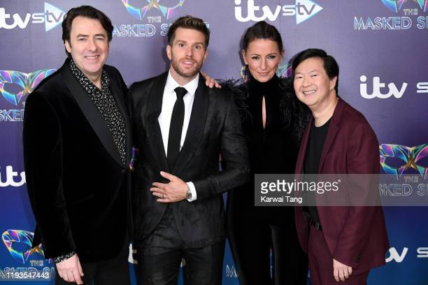 Jonathan Ross Joel Dommett Davina McCall and Ken Jeong attend The Masked Singer photocall at The Mayfair Hotel on December 12 2019 in London England