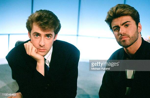 Jonathan Ross ond George Michael portrait on set of a TV show June 1987