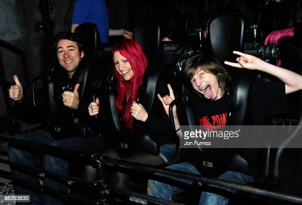 LONDON MARCH 11 Jonathan Ross wife Jane Goldman and son Harvey Kirby attends the opening of the new ride 'SAW The Ride' at Thorpe Park on March 11...