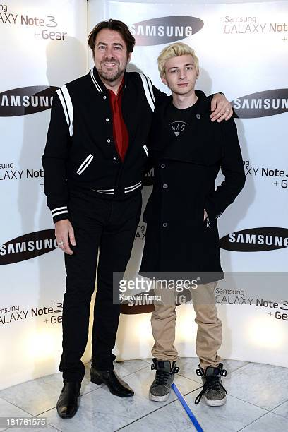 Jonathan Ross with son Harvey Kirby Ross attend the launch of Samsung's Galaxy Gear and Galaxy Note 3 at ME Hotel on September 24 2013 in London...