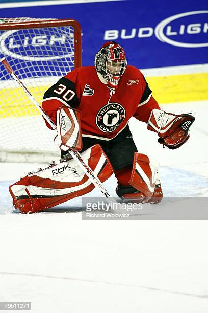 Jonathan Roy of the Quebec City Remparts gets ready to stop a shot during the game against the Moncton Wildcats at Colisee Pepsi on January 31, 2008...