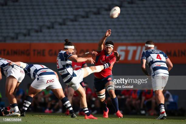 Jonathan Ruru of Auckland clears the ball during the Mitre 10 Cup Final between Auckland and Tasman at Eden Park on November 28, 2020 in Auckland,...