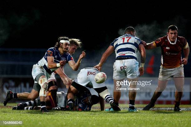 Jonathan Ruru of Auckland clears the ball during the round nine Mitre 10 Cup match between Southland and Auckland at Rugby Park Stadium on October 10...