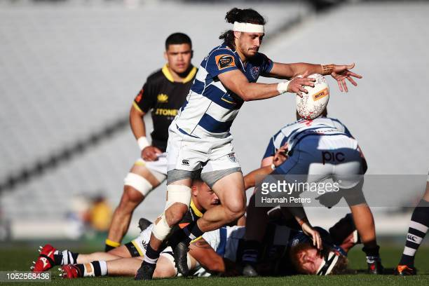 Jonathan Ruru of Auckland kicks the ball through during the Mitre 10 Cup Semi Final match between Auckland and Wellington at Eden Park on October 20...