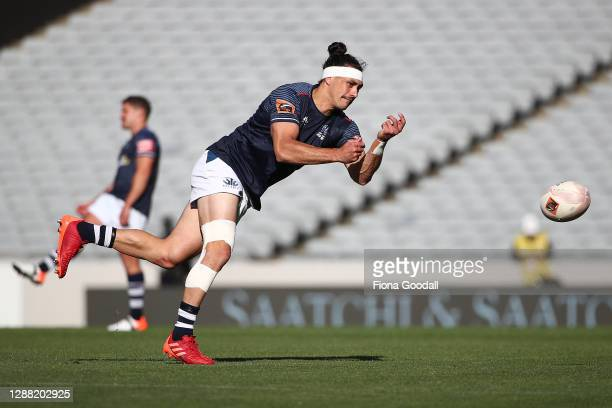 Jonathan Ruru of Auckland warms up during the Mitre 10 Cup Final between Auckland and Tasman at Eden Park on November 28, 2020 in Auckland, New...