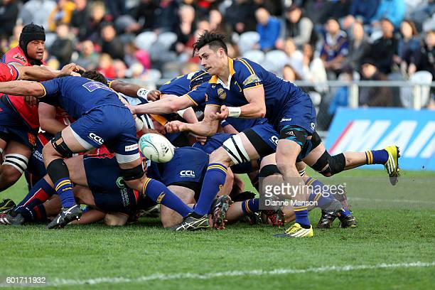 Jonathan Ruru of Otago gets the ball away during the round four Mitre 10 Cup match between Otago and Tasman at Forsyth Barr Stadium on September 10...