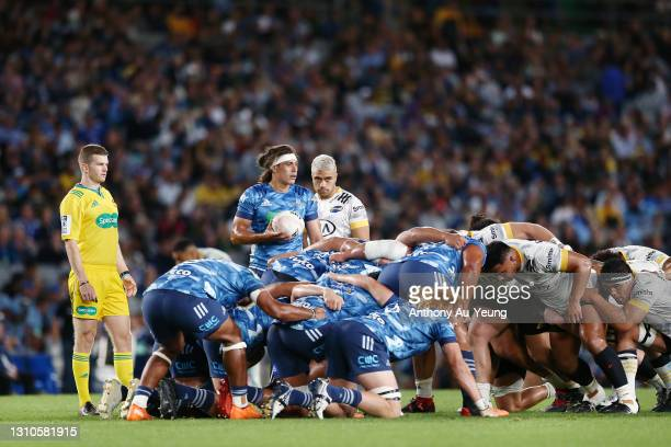 Jonathan Ruru of the Blues looks to feed the scrum during the round 6 Super Rugby Aotearoa match between the Blues and the Hurricanes at Eden Park,...