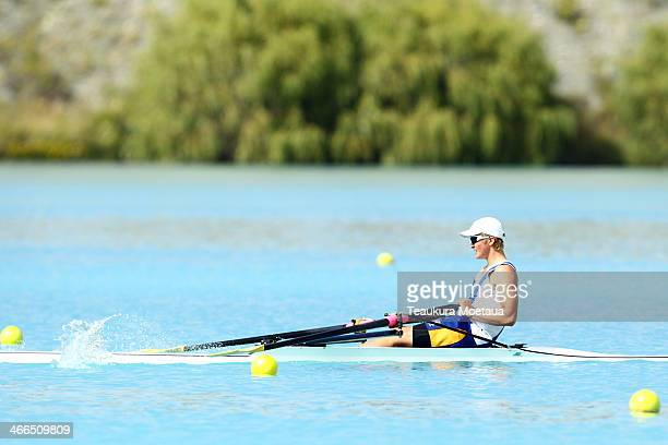 Jonathan Rush of Timaru competes in the Boys under16 single sculls final during the South Island Club Championships at Lake Ruataniwha on February 2...