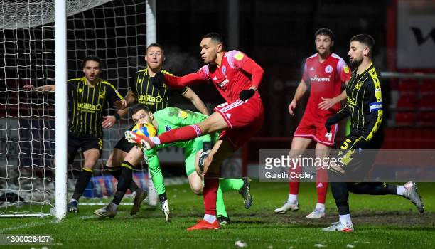 Jonathan Russell of Accrington shoots at goal during the Sky Bet League One match between Accrington Stanley and Bristol Rovers at The Crown Ground...