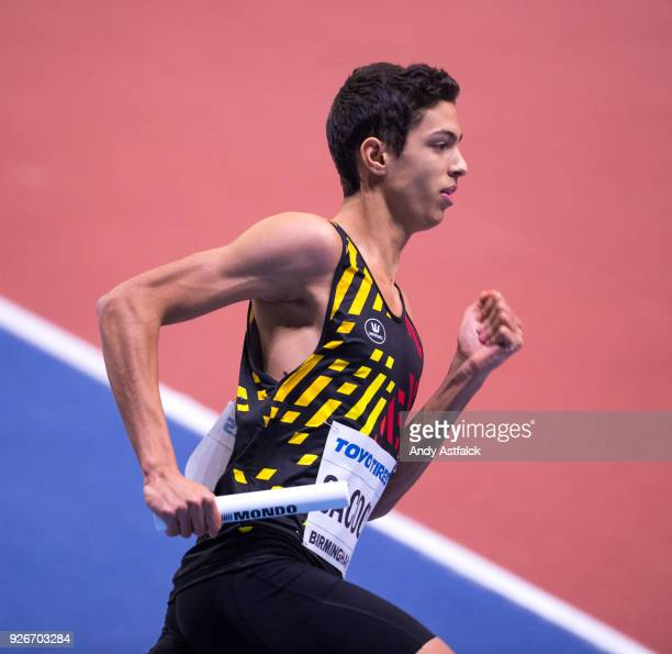 Jonathan Sacoor from Belgium during the Men's 4x400m Relay on Day 3 of the IAAF World Indoor Championships at Arena Birmingham on March 3 2018 in...