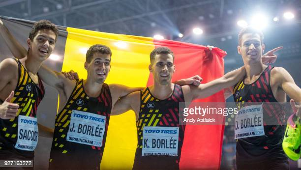 Jonathan Sacoor Jonathan Borlee Kevin Borlee and Dylan Borlee of Belgium celebrate a third place finish in the Men's 4x400m Final on Day 4 of the...